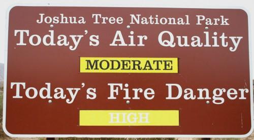 Joshua Tree National Park - Õhu kvaliteet ja tuleoht
