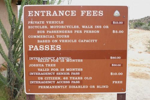 Joshua Tree National Park - Sissepääsu tasud