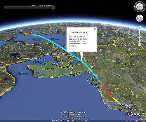 Flight track (Amsterdam -> Tallinn)