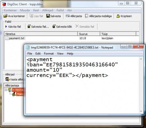Panka saadetud makse Digidoc