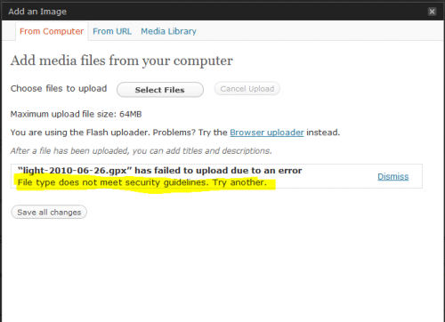 File type does not meet security guidelines. Try another.