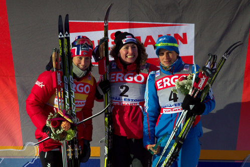Otepää MK sprindi parimad. Vasakult: Marit Björgen, Justyna Kowalczyk, Natalia Matvejeva