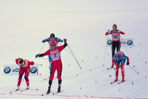 Naiste sprindi finaali finiš. Võitis Justyna Kowalczyk.
